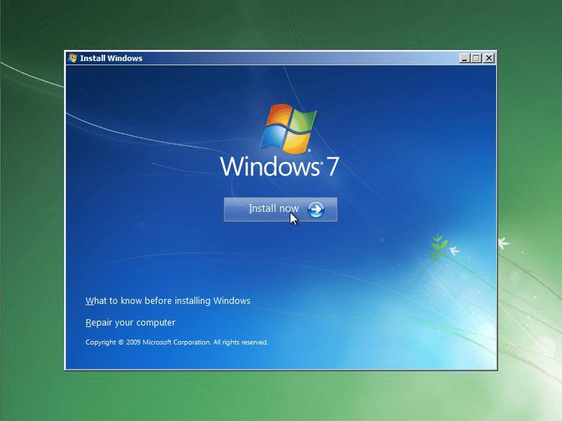 installing windows 7 ultimate